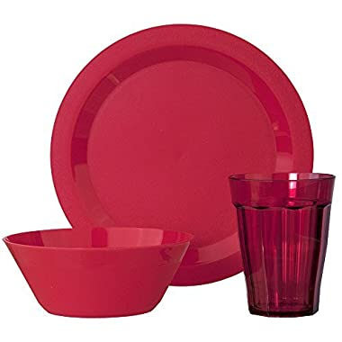 Cambridge Plastic Plate, Bowl and Tumbler Dinnerware | 12-piece set Red