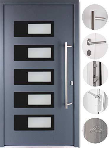 kuporta Alu-Kunststoff Haustür SKULLY DOOR anthrazit 100 x 200 cm DIN rechts inkl. Stoßgriff-Set