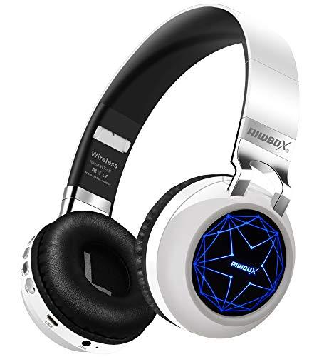 Riwbox WT-8S - Auriculares Bluetooth con luz LED, inalámbricos, estéreo, plegables, inalámbricos, con cable, con micrófono y tarjeta TF, compatible con tableta, ordenador portátil, TV (blanco)