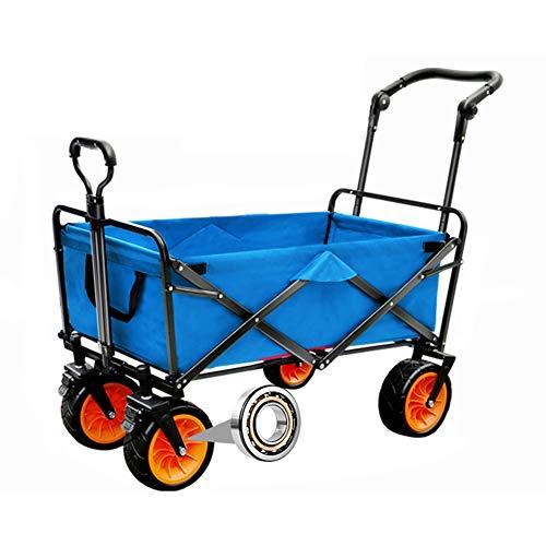 MNSSRN Folding Outdoor-Trolley Cart, bewegliche Anhänger, Picknick-Pull-LKW, Stable Sicherheitsgurt Brake, Multi-Funktions-Trolley Warenkorb Warenkorb,Blau,B