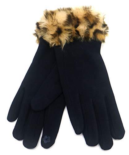 Dielay dames handschoenen met imitatiebont luipaard panter eenheidsmaat - One Size - Touchscreen Tip