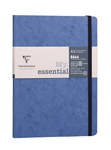 Clairefontaine 793464C A5 Age Bag Essentials Thread, Bound Notebook, Lined, 192 Pages, Blue