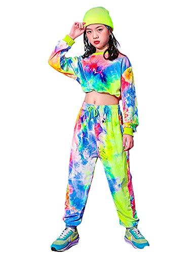 LOLANTA Conjunto de Ropa Tie-Dye para niñas, Sudadera de Terciopelo, Traje de Baile Callejero,Pantalones con cordón para niños(6-7 años,tamaño de la Etiqueta 130)