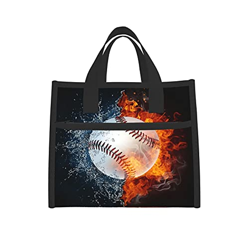 Insulated Lunch Bag,Funny Baseball Ball In Fire And Water Best ,Portable Cooler Durable Thermal Snacks Organizer for Adults/Work/Outdoor 6.5 X 9 X 8 Inches