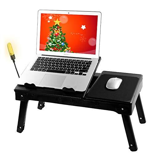 Escritorio multifuncional para portátil para cama, mesa ajustable para portátil con ventilador de refrigeración interno y luz LED integrada (21' largo x 12' ancho x 10' alto)