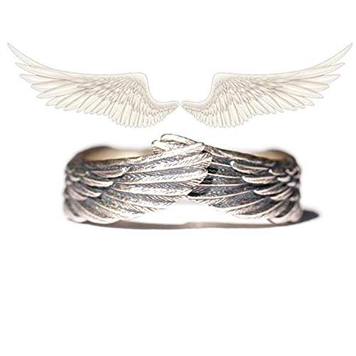 'Angel's Wing' Ring with Jewelry Box, Opening Adjustable Vintage Silver Women Men Feather Wing Ring (1PCS)
