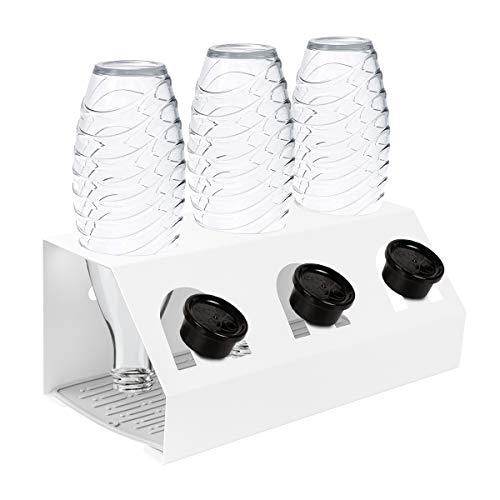 HEIMUNI Edelstahl Flaschenhalter für SodaStream Flaschen, Abtropfhalter Flaschen 3er Abtropfständer aus Edelstahl für Crystal Flaschen, Flaschenhalter mit Deckelhalter für Glasflaschen (Weiß)