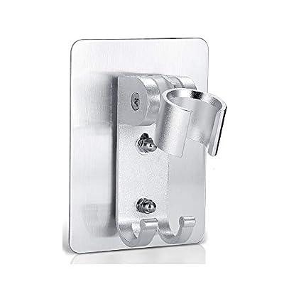 Adhesive Shower Head Holder,Adjustable Strong Self-Adhesive Shower Wand Holder With 2 Hanger Hooks For Bathroom Bathtub No Drill Need Showerhead & Bidet Sprayer Bracket For Bathroom Bathtub (1 Pack)