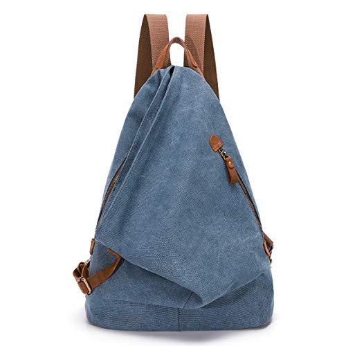 KL928 Retro Segeltuch Rucksack Canvas Vintage Rucksäcke Echtleder Daypack Reisetasche Schulterrucksack für Herren Damen (6882-Blue)