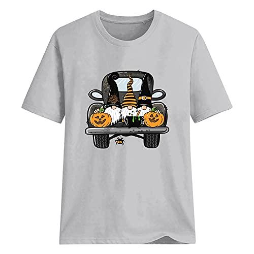 XUNN Camiseta de manga corta para mujer, diseo de halloween, cuello redondo, con impresin grfica de gnomos, A-gris, L