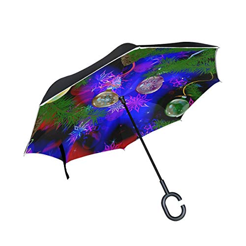 Rode wintervakantie, dubbellaags, omgekeerde paraplu met C-handgreep voor regen, winddicht