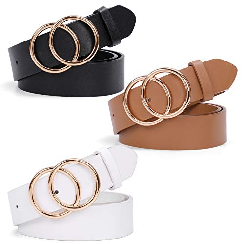 Womens Black and Brown and White Faux Leather Belts for Jeans Dresses Pants,Fashion Belts for Women With Gold Double O-Ring Buckle 3 Pack,Size M