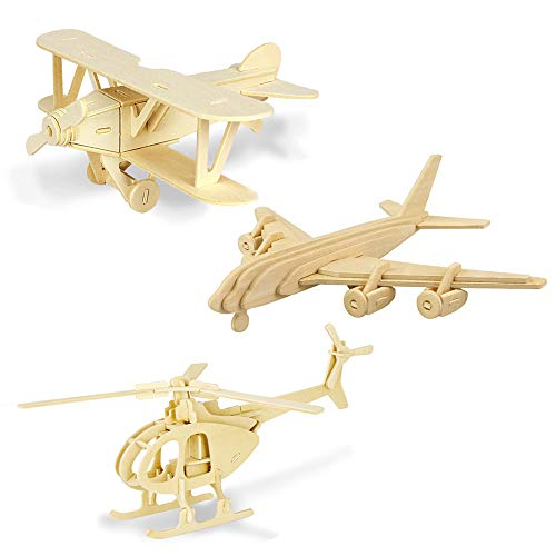 Georgie Porgy Woodcraft Construction Kits 3D Wooden Jigsaw Puzzle Wooden Model Kits for Kids Toys Age 5+ Pack of 3 (Biplane Helicopter Civil Airplane)