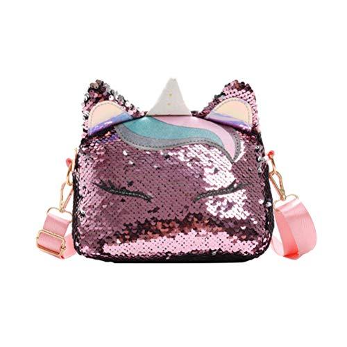 FENICAL bolso bandolera lentejuelas unicornio mini bolsos monedero messenger flippy glitter para mujer niñas (rosa oscuro)