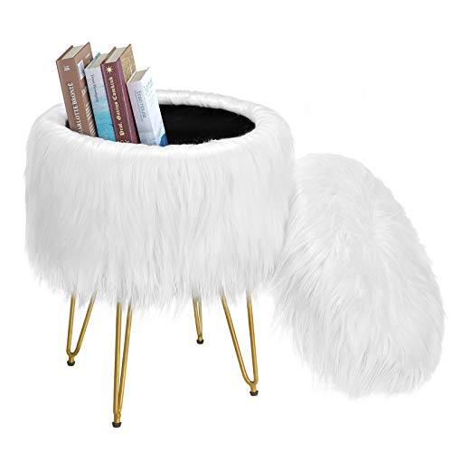Greenstell Vanity Stool Chair 4 Metal Legs with Anti-Slip Pad, Round Faux Fur Storage Ottoman, Soft Furry Compact Padded Seat, Modern Decorative Furniture Chairs for Makeup, Bedroom White