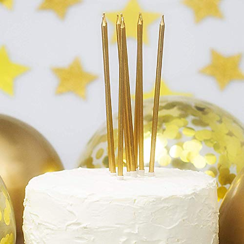 On The Wall Tall Gold Cake Candles with Holders (16 Pack)