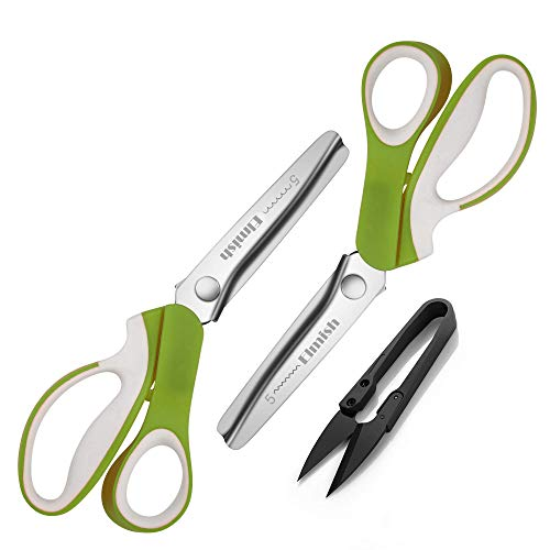 Elmish Pinking Shears Set (Pack of 2 PCS, Serrated & Scalloped Edges) - Zig-zag Scissor for Fabric Leather & Paper - Pinking Sewing Dressmaking Scissors EM-006-B