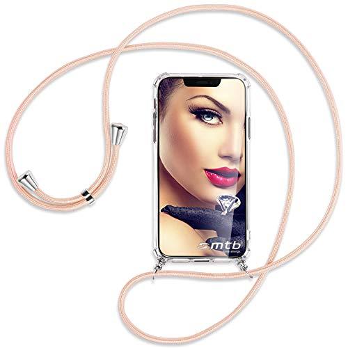 mtb more energy® Cadena de teléfono compatible con Xiaomi Mi Note 10, Note 10 Pro (6,47 pulgadas) – Rosa Peach – Funda para Smartphone para colgar – Carcasa de TPU resistente a los golpes