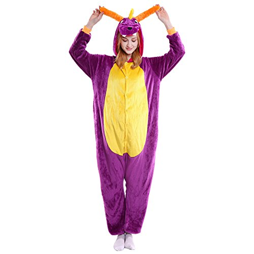 LSHEL Erwachsenen Tier Pyjama Jumpsuit Cosplay Unisex Cartoon Karneval Halloween Kostüm Fleece Overall Pyjamas, Lila Drache, S (empfohlene Höhe 145-155 cm)