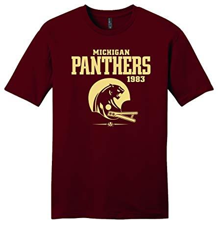 Throwbackmax Michigan Panthers USFL 1983 Football Tee Shirt - Any 2 Tees for 33 - Maroon (3X)