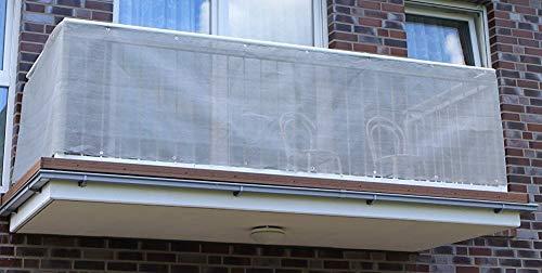 Jinju Anthrazit&Beige 0,9 x 8 Meter PE Balkonsichtschutz, Balkonverkleidung, Windschutz, Sichtschutz und UV-Schutz für Balkon, Gartenanlagen, Camping und Freizeit