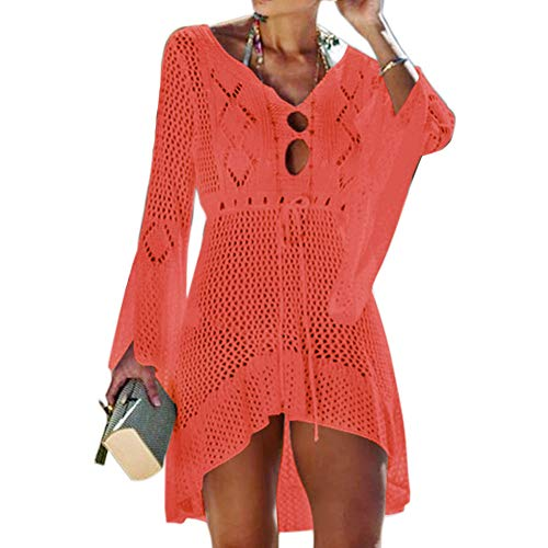 Tacobear Sexy Copricostume da Bagno Donna in Maglia Estate Abito da Spiaggia Copribikini in Cotone Copricostumi Parei Bikini Cover Up Camicetta Maglia Tunica (Rosso Arancio)