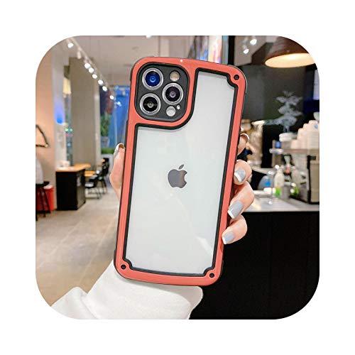 Carcasa transparente a prueba de golpes para iPhone 12 11 Pro Max X Xs MAX XR 7 8 Plus de protección de la cámara de color caramelo de la cubierta de la carcasa Hawthorn Rojo-Para iPhone XS Max