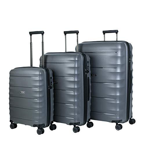 JASLEN - Juego Set 3 Maletas Trolley 50/60 / 70 cm Polipropileno PP. Rígidas, Resistentes y Ligeras. 4 Ruedas Dobles. Candado TSA. Pequeña Low Cost 161000, Color Gris
