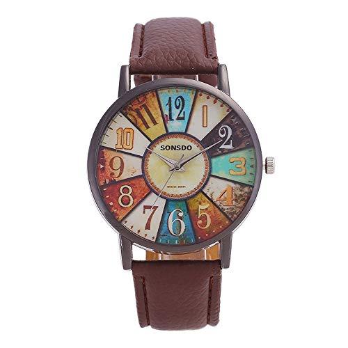 Zwei Blume Quarz-Uhren for Frauen, Damenquarz-Uhr, Retro-Persönlichkeit Digital-Plattenspieler PU-Lederband Quarz Bewegungsuhr (Color : Coffee)