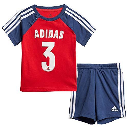 adidas I Sport Sum Set Chándal, Unisex bebé, Top:Vivid Red/Tech Indigo/White Bottom:Tech Indigo s20/White, 6-9M