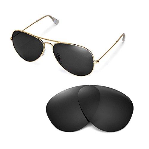Walleva Ersatzgläser für Ray-Ban Aviator Large Metal RB3025 62mm Sonnenbrille - Mehrfache Optionen (Schwarz - polarisiert)
