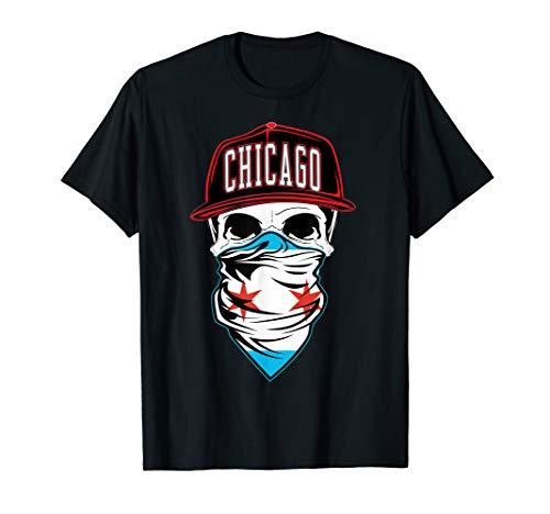 Mens Chicago Flag T shirt Chiraq Skull Bandana ChiTown Tee