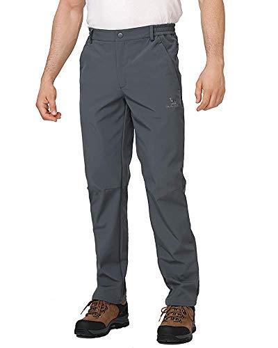 CAMEL CROWN Pantaloni da Trekking Impermeabili da Uomo Antivento Pantaloni Softshell Fodera in Pile Pantaloni da Sci Snowboard Montagna Outdoor Arrampicata Caccia Pantaloni Caldi Autunno Inverno