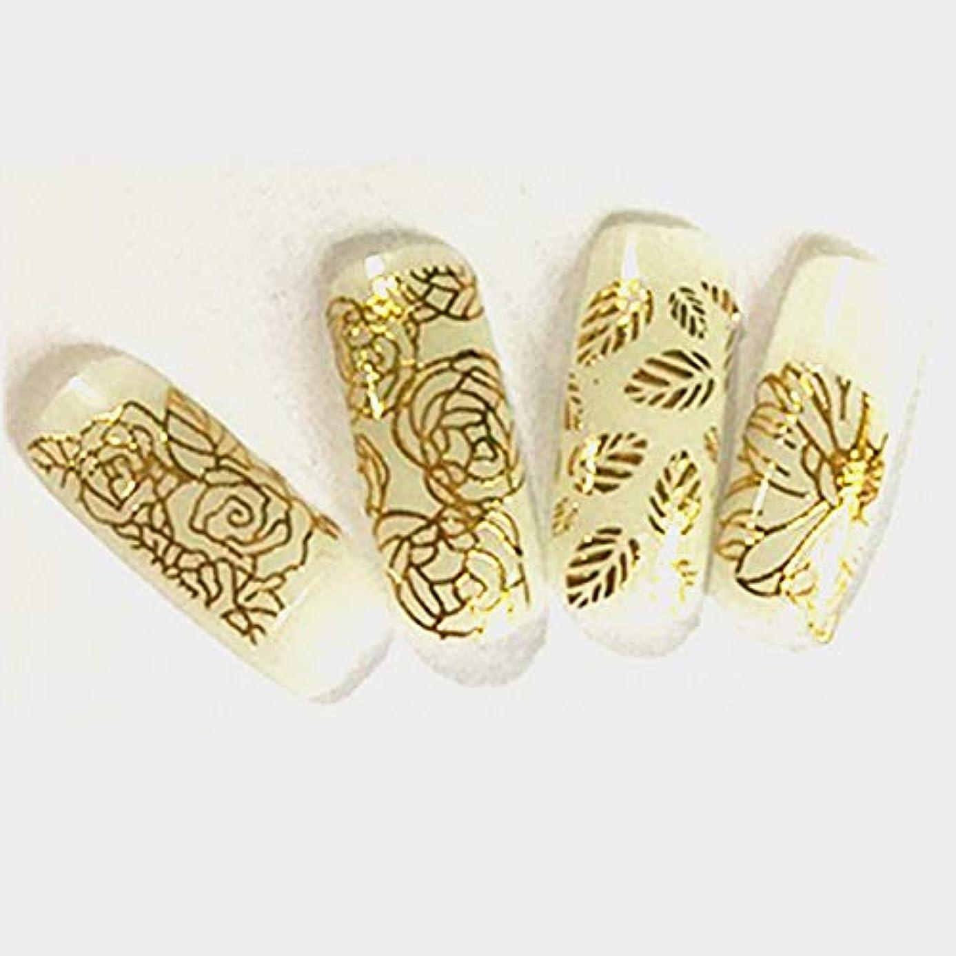 前任者罰北米ネイルステッカー エンボス花 DIYデカール、マニキュアツール 3Dゴールド1枚入り 直接貼る 花柄 ネイル用装飾