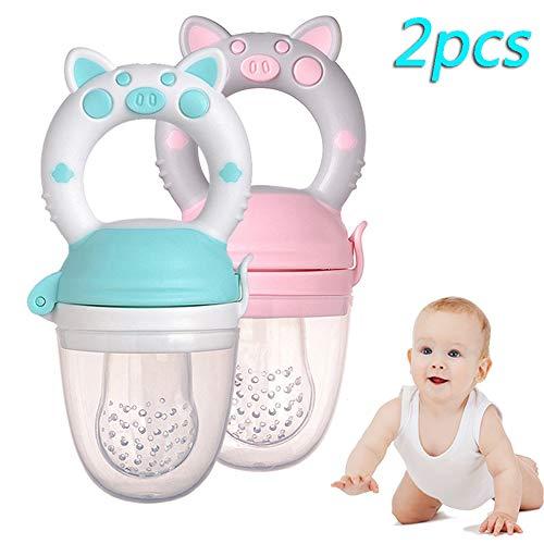 Baby fruit Feeder Fopspeen, Fopspeen Pacifiers Silicone Bijtring Medium Maat voor Baby Girl 6-9 maanden oud (blauw, roze) 2Pcs