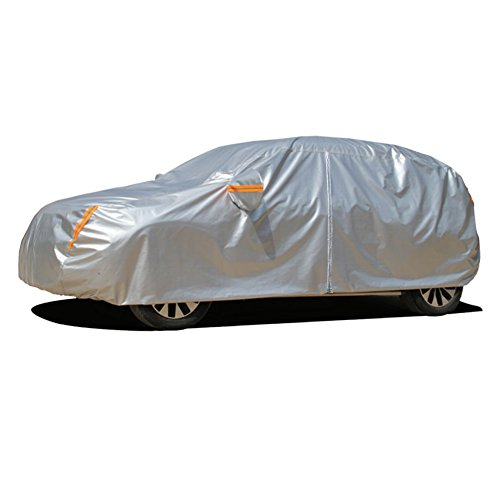 Kayme 6 Layers Car Cover Waterproof All Weather for Automobiles, Outdoor Full Cover Rain Sun UV Protection with Zipper Cotton, Universal Fit for Hatchback (Up to 177')
