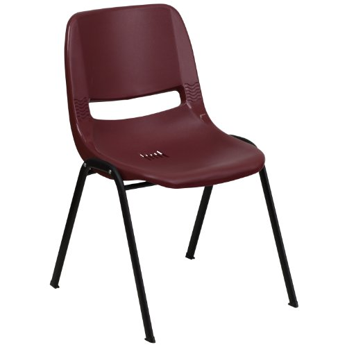 Flash Furniture HERCULES Series 880 lb. Capacity Burgundy Ergonomic Shell Stack Chair with Black Frame