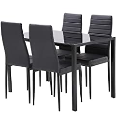【Upgraded upholstered cushion】This Dining table set includes 1 dining table and 4 upholstered dining chairs,the contemporary faux leather upholstered dining chair of our kitchen table set is a comfortable addition to any dining room.kitchen table set...