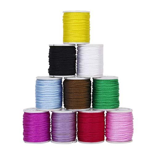 Artibetter 10 Stks 1Mm Nylon Kralen String Macrame Draad Crafting Band Chinese Knoop Koord Oorlus Koord Voor Diy Sieraden Maken Armbanden (10 Kleuren)