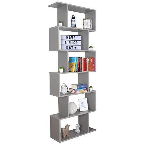 RICOO Bücherregal Raumteiler Standregal 192x70x25 cm (WM070-PL) Wand-Eck-Regal Holzregal Grau Organizer Bücherschrank Pflanzen-Regal Dekoregal mit 6 Ebenen Akten-Schrank-Regal