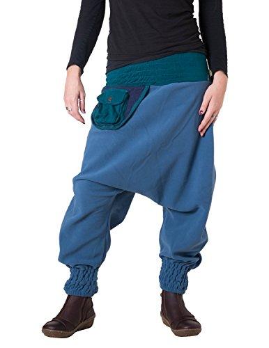 Vishes - Alternative Bekleidung - Warme Thermo Haremshose aus Fleece mit Tasche und weichem Jersey Bund Blau