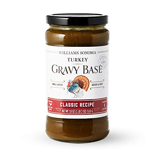 Williams Sonoma Turkey Gravy Base Jar - Classic Recipe, 1 lb. 2 oz. (makes 4 cups of gravy). Made in USA.