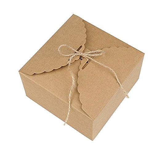 Dosige cakedoos, plat, vierkant, kraftpapier, retro-geschenkdoos, kraftpapier, kraftpapier-doos, kraftpapier-doos met koord