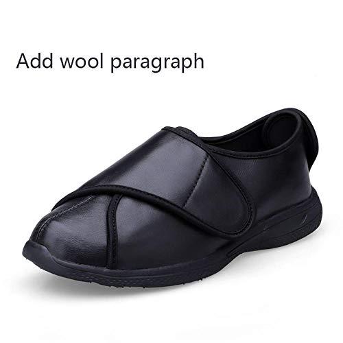 Diabetische wandelschoenen voor heren Ademende sneakers, gezwollen voeten, brede voeten, gezwollen schoenen, misvormde diabetische voeten - UK5_Black plus fluweel, diabetische pantoffel