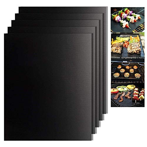Jsdoin Grill Mat - 5 Set BBQ Grill Mats 100% Non Stick Black Grilling Mats - Reusable & Easy to Clean, Barbecue Sheets for Grilling Meat, Veggies, Seafood, Eggs