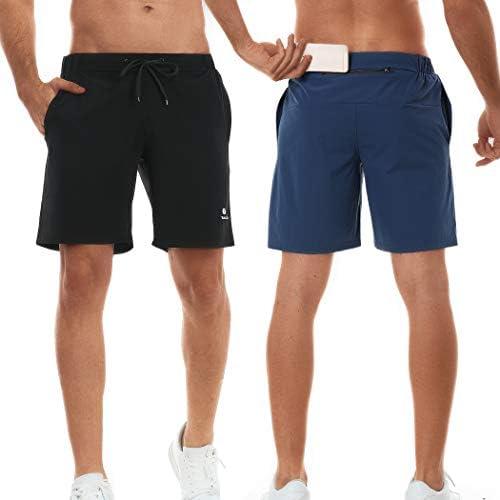 TELALEO Men s 7 Workout Running Shorts Zipper Phone Pocket Athletic Training Gym 2 Pack Black product image