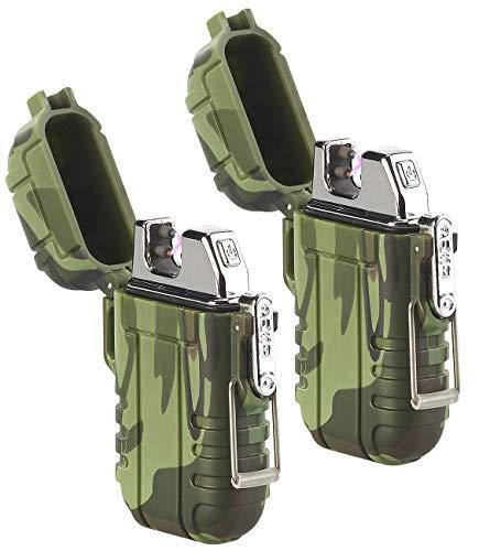 PEARL Arc-Feuerzeug: 2er Set Elektronisches Feuerzeug mit doppeltem Lichtbogen, Akku, IP56 (Elektronische Feuerzeuge USB)