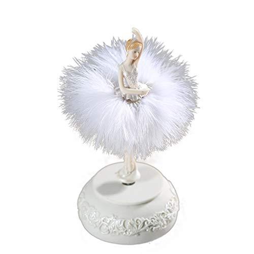 LILY-music box Boîte à Musique Manuelle Ballet Rotation Résine Boîte à Musique Danse Fille Boîte à Musique Creative Décoration Anniversaire Cadeau De Saint Valentin Bon Son (Color : White)