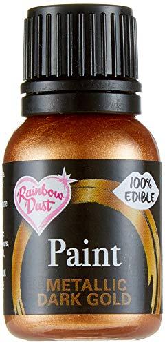 Rainbow Dust Metallic-Lebensmittelfarbe Dark Gold, 1er Pack (1 x 25 ml)