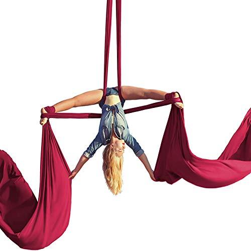 ZKLNO Juego De Hamaca De Yoga Aérea Sala De Yoga Interior para El Hogar Danza De Gran Altitud Tela De Satén Equipo De Baile Giratorio De Satén Yoga Antigravedad Columpio Pilates,Rojo